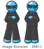 #35811 Clip Art Graphic Of Sky Blue Guy Characters Wearing Shades And Guarding A Door