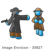 #35827 Clip Art Graphic Of A Sky Blue Guy Character In A Duel