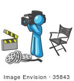 #35843 Clip Art Graphic Of A Sky Blue Guy Character Filming A Movie