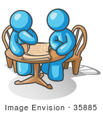 #35885 Clip Art Graphic Of Sky Blue Guy Characters Reading At A Table