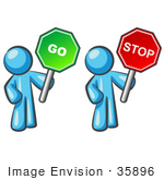 #35896 Clip Art Graphic Of A Sky Blue Guy Character With Go And Stop Signs