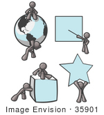 #35901 Clip Art Graphic Of A Sky Blue Guy Character Pushing Shapes