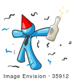 #35912 Clip Art Graphic Of A Sky Blue Guy Character Partying With Liquor