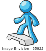 #35922 Clip Art Graphic Of A Sky Blue Guy Character Stepping At The Gym