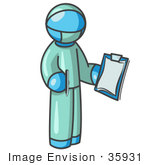 #35931 Clip Art Graphic Of A Sky Blue Guy Character Surgeon