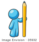 #35932 Clip Art Graphic Of A Sky Blue Guy Character With A Pencil