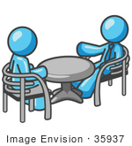 #35937 Clip Art Graphic Of A Sky Blue Guy Character Chatting With A Friend At A Table