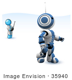 #35940 Clip Art Graphic Of A Sky Blue Guy Character Operating A Robot