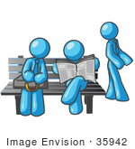 #35942 Clip Art Graphic Of Sky Blue Guy Characters At A Bus Stop