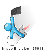 #35943 Clip Art Graphic Of A Sky Blue Guy Character On A Rocket