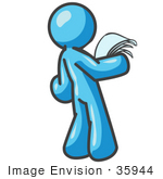 #35944 Clip Art Graphic Of A Sky Blue Guy Character Reading A Notice