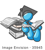 #35945 Clip Art Graphic Of A Sky Blue Guy Character Graduate Reading