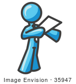#35947 Clip Art Graphic Of A Sky Blue Guy Character Giving A Speech