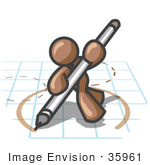 #35961 Clip Art Graphic Of A Brown Guy Character Drawing A Circle On Graph Paper