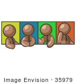#35979 Clip Art Graphic Of A Brown Guy Character In Four Poses