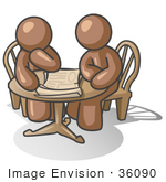 #36090 Clip Art Graphic Of Brown Guy Characters Reading At A Table