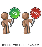 #36098 Clip Art Graphic Of A Brown Guy Character With Go And Stop Signs