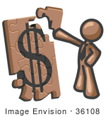 #36108 Clip Art Graphic Of A Brown Guy Character Assembling A Puzzle