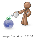 #36136 Clip Art Graphic Of A Brown Guy Character Watering Earth