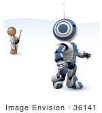 #36141 Clip Art Graphic Of A Brown Guy Character Controlling A Robot
