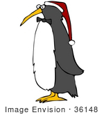 #36148 Clip Art Graphic Of A Festive Christmas Penguin Wearing A Santa Hat