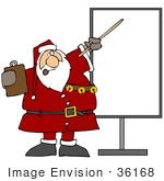 #36168 Clip Art Graphic Of Santa Holding A Clipboard And Discussing Holiday Rules