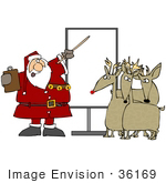 #36169 Clip Art Graphic Of Santa Holding A Clipboard And Discussing Holiday Rules With Three Reindeer