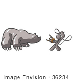 #36234 Clip Art Graphic Of A Grey Guy Character Fighting A Bear With A Whip