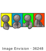 #36248 Clip Art Graphic Of Grey Guy Characters In Different Poses