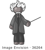 #36264 Clip Art Graphic Of A Grey Guy Character As Einstein
