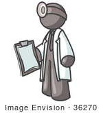 #36270 Clip Art Graphic Of A Grey Guy Character Doctor With A Clipboard