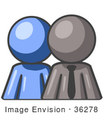 #36278 Clip Art Graphic Of A Grey Guy Character With An Employee