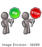 #36289 Clip Art Graphic Of Grey Guy Characters Holding Stop And Go Signs
