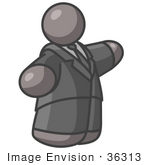 #36313 Clip Art Graphic Of A Fat Grey Guy Character Pointing