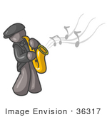 #36317 Clip Art Graphic Of A Grey Guy Character Playing Jazz Music With A Sax
