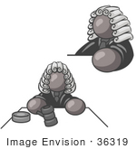 #36319 Clip Art Graphic Of A Grey Guy Character Judge