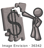 #36342 Clip Art Graphic Of A Grey Guy Character Assembling A Financial Puzzle