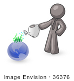 #36376 Clip Art Graphic Of A Grey Guy Character Watering Planet Earth