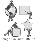 #36377 Clip Art Graphic Of A Grey Guy Character With Shapes And A Globe