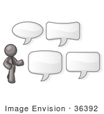 #36392 Clip Art Graphic Of A Grey Guy Character With Text Balloons