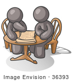 #36393 Clip Art Graphic Of Grey Guy Characters Sitting At A Table And Looking At Papers
