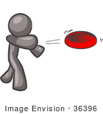 #36396 Clip Art Graphic Of A Grey Guy Character Throwing A Frisbee