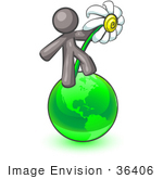 #36406 Clip Art Graphic Of A Grey Guy Character With A Daisy On Earth