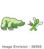 #36593 Clip Art Graphic Of A Lime Green Guy Character Battling A Bear With A Whip