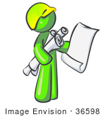 #36598 Clip Art Graphic Of A Lime Green Guy Character Holding Scrolls And Blueprints