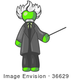 #36629 Clip Art Graphic Of A Lime Green Guy Character As Einstein