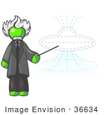 #36634 Clip Art Graphic Of A Lime Green Guy Character As Einstein Pointing To A Ufo
