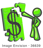 #36639 Clip Art Graphic Of A Lime Green Guy Character Assembling A Financial Puzzle
