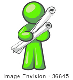 #36645 Clip Art Graphic Of A Lime Green Guy Character Holding Scrolls