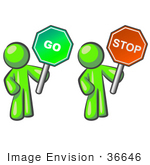 #36646 Clip Art Graphic Of A Lime Green Guy Character Holding Go And Stop Signs